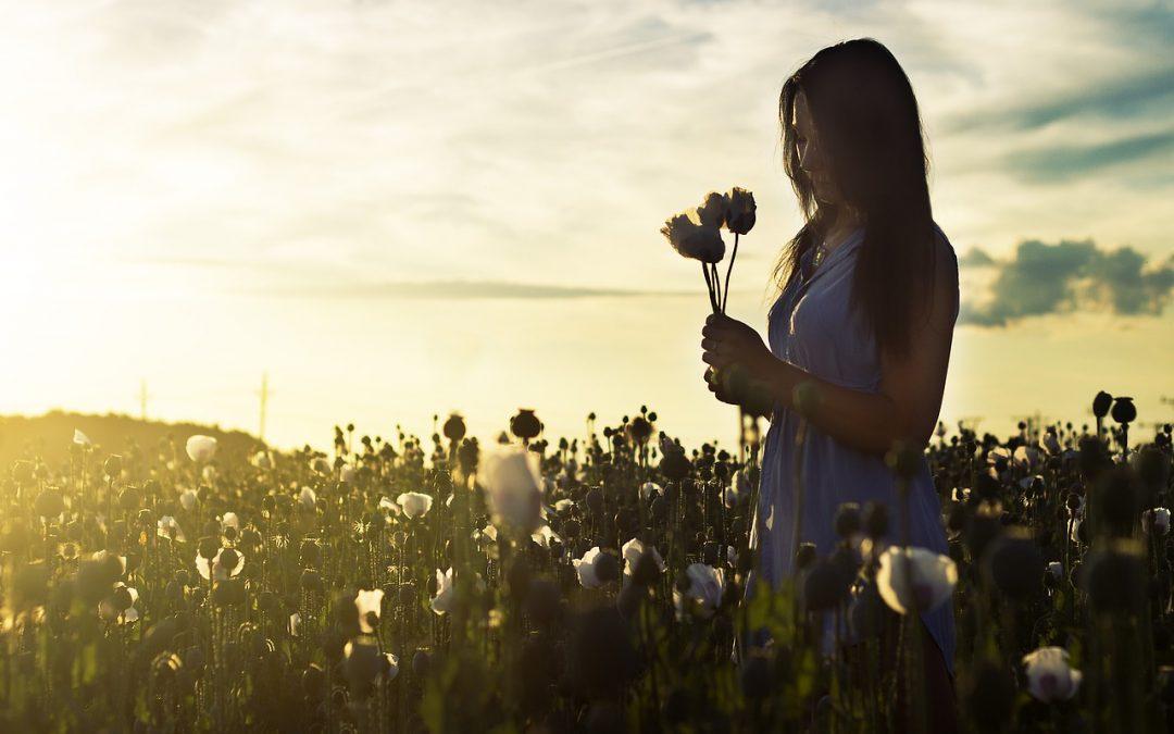 Frau mit zwei Blumen in der Hand im dämmrigen Blumenfeld als Sinnbild, wie Dankbarkeit unser Leben zum Erblühen bringt